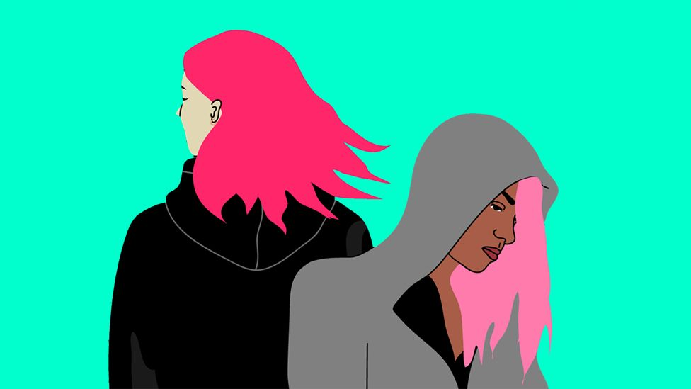 illustration of two young women