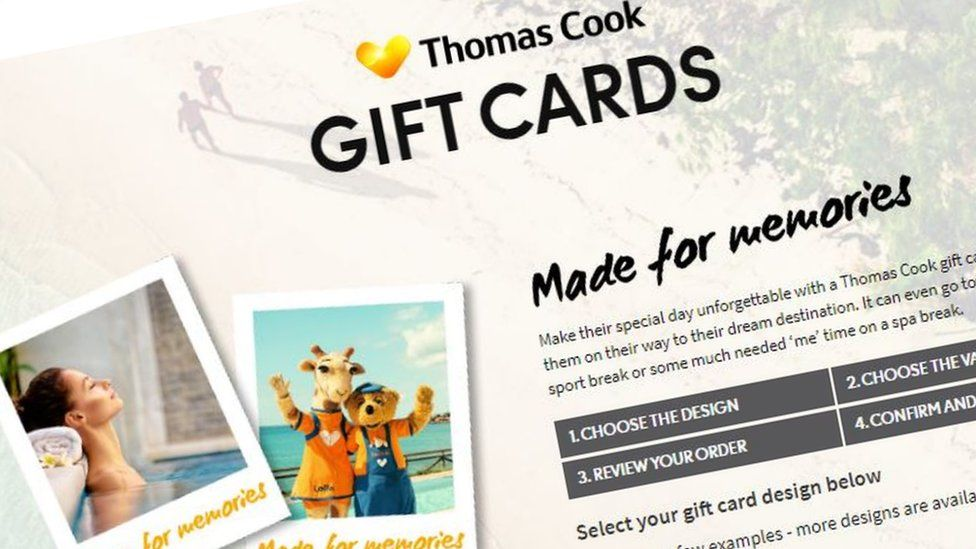 Still from Thomas Cook gift cards website