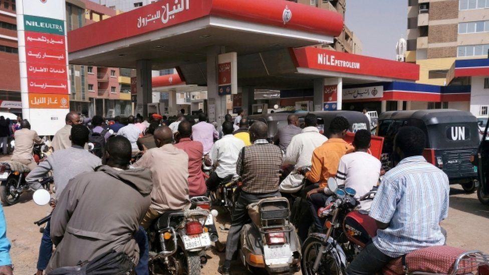 People queuing for fuel in Khartoum, Sudan