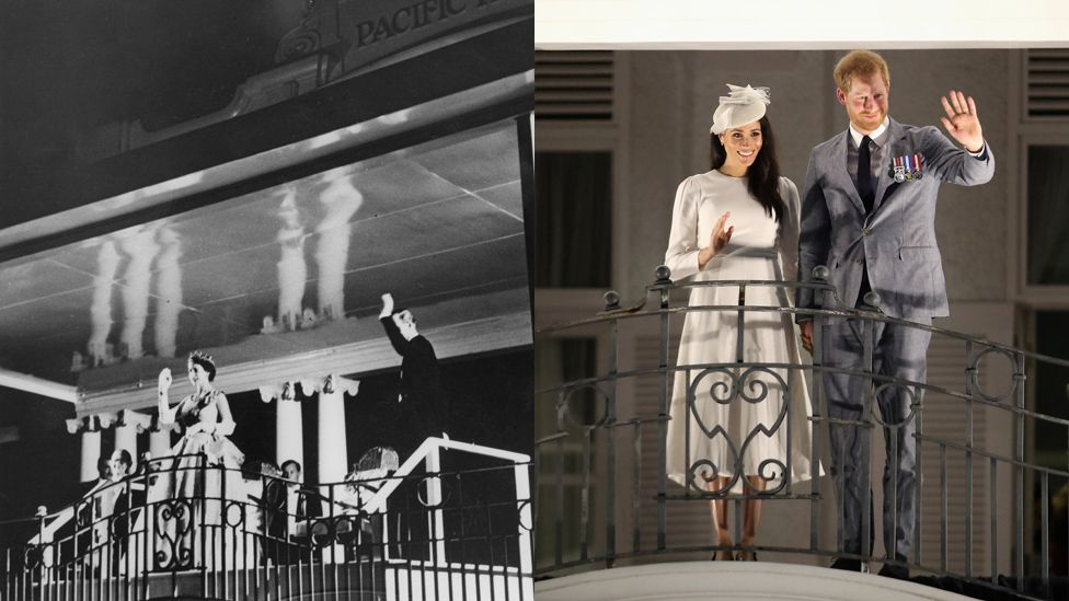 The Queen and Duke of Edinburgh waving from the balcony in 1953, and the modern royal couple in 2018