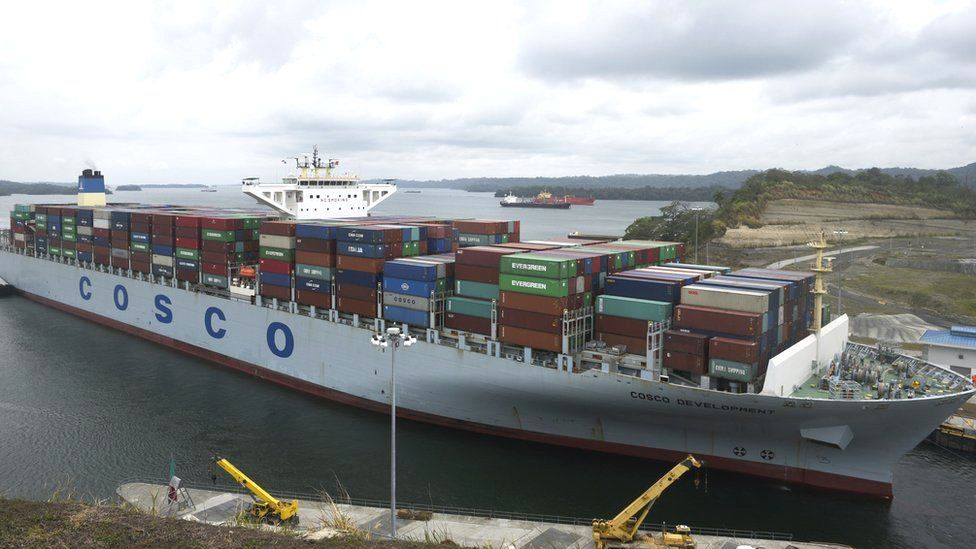 Chinese container ship in the Panama Canal
