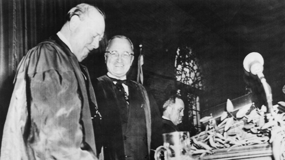 Winston Churchill and President Harry S Truman at Fulton, Missouri