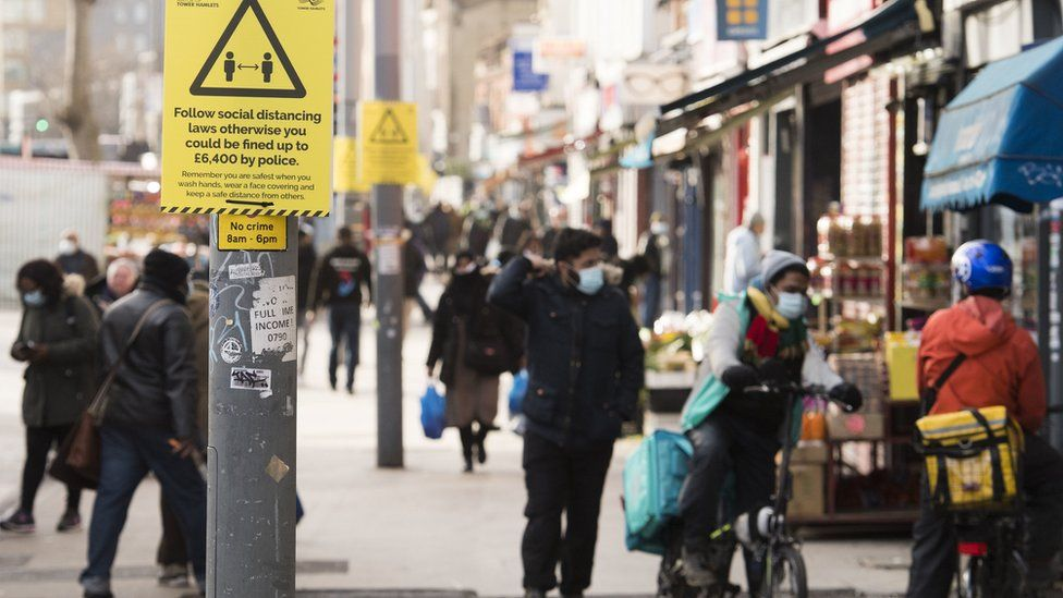 """Whitechapel Road in London during England""""s third national lockdown to curb the spread of coronavirus. Picture date: Thursday January 28, 2021"""