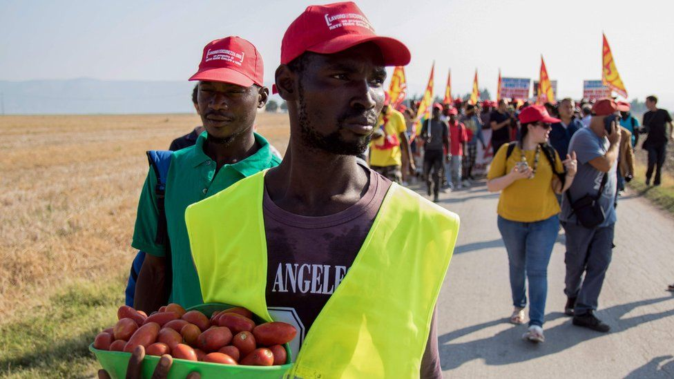 African migrant workers marching on Foggia in protest at their labour conditions