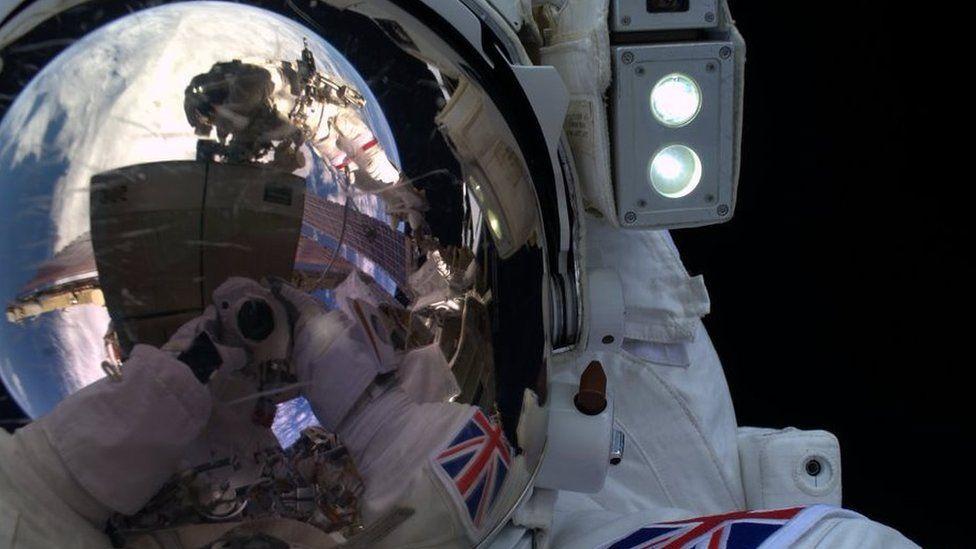 Tim Peake selfie during his spacewalk