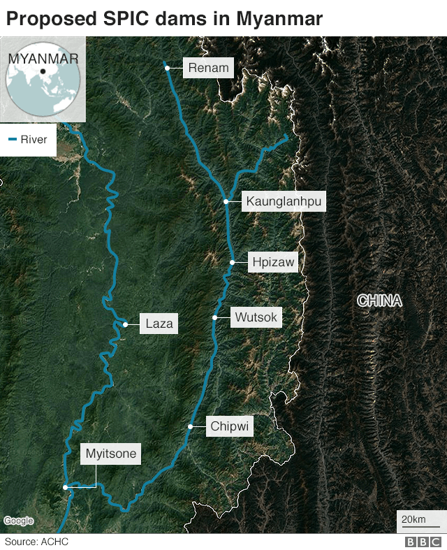Satellite map of the seven dams including the Myitsone