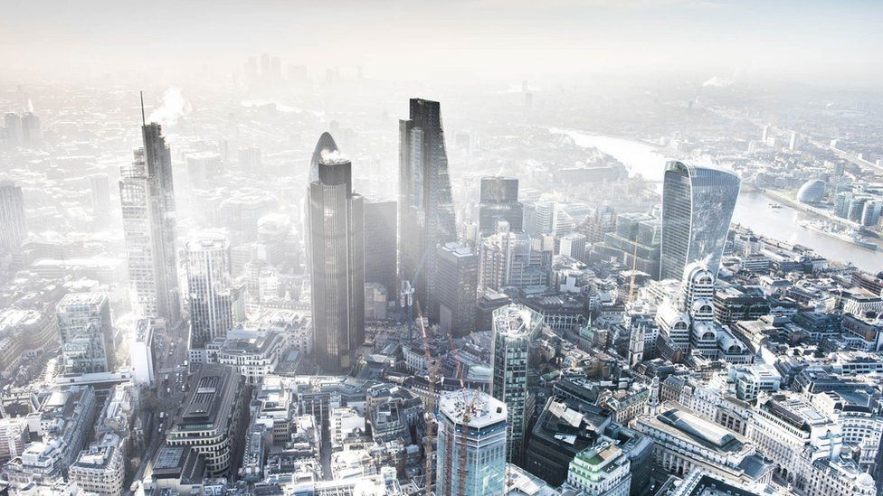 Bird's eye view of foggy London