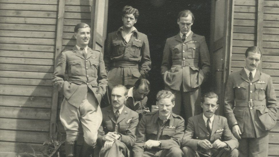 Flt Lt Gunn, back row second from left, at Stalag Luft III