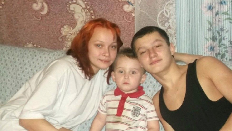 Hanna Kostseva with her eldest brother, and one of her sons