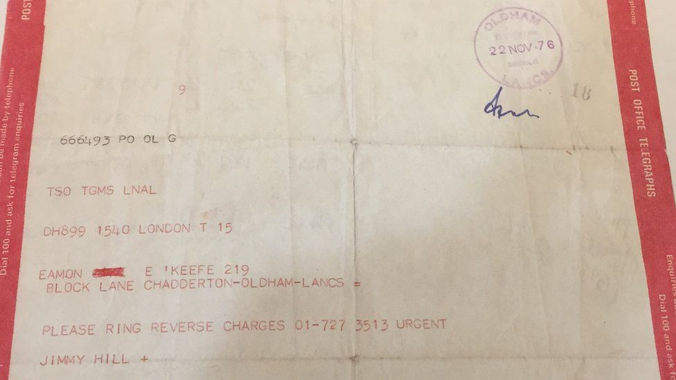 Jimmy Hill's telegram to Eamonn