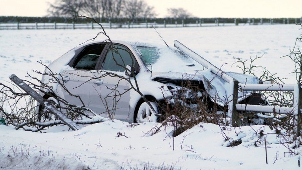 A crashed car on the A68 near Castleside in County Durham