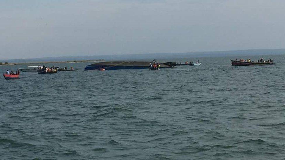 A capsized boat in Tanzania