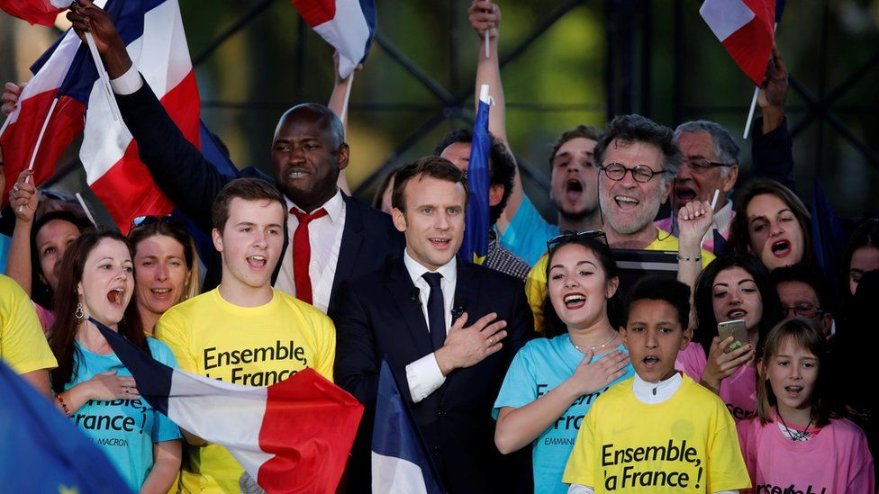 Emmanuel Macron (C), holds a campaign rally in Albi on 4 May