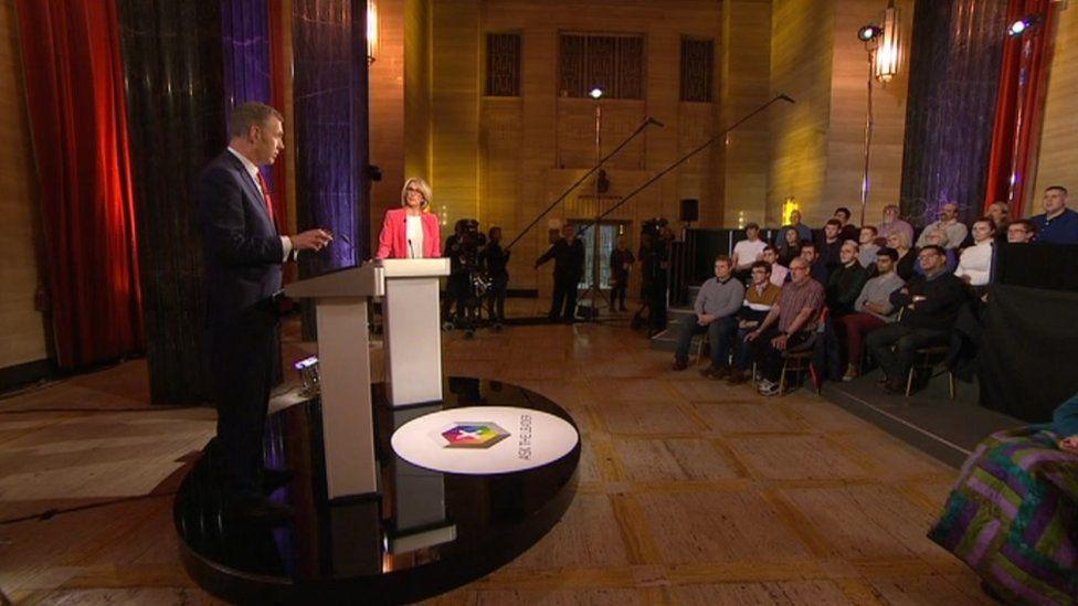 Wide shot of the debate