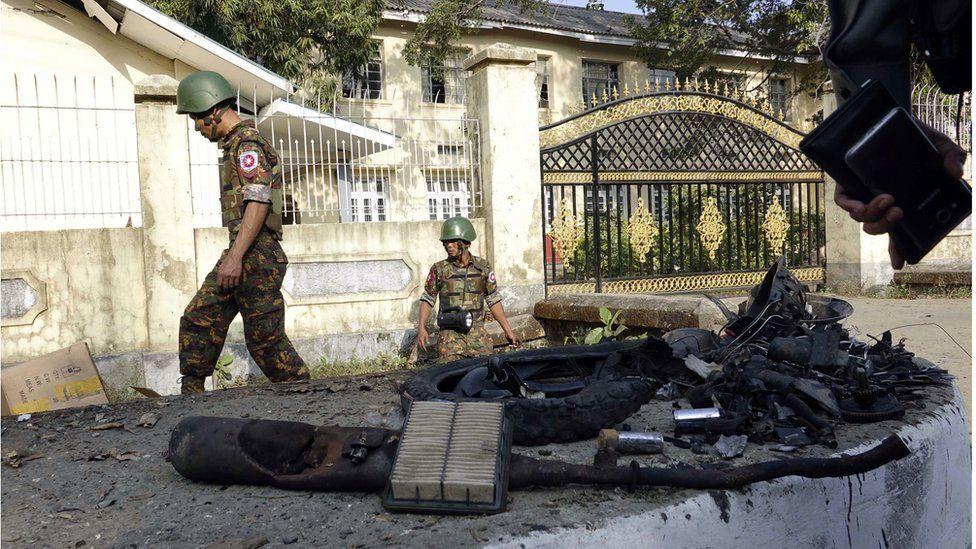 Myanmar: Bombs explode in capital of restive Rakhine state - BBC News