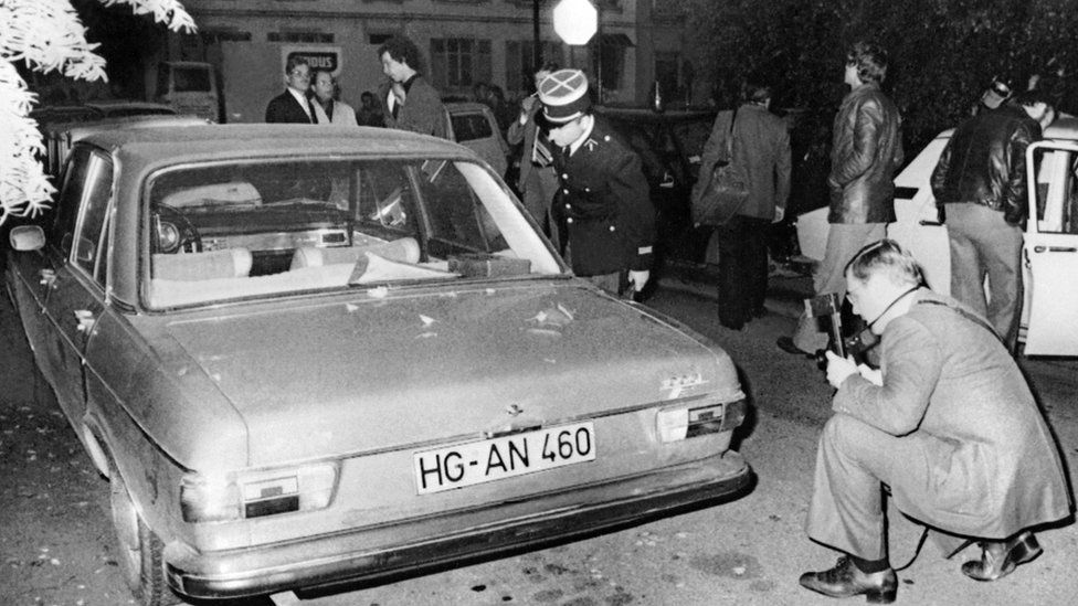 French police inspect Audi car where body of murdered industrial leader Hans Martin Schleyer was found (Oct 1977)