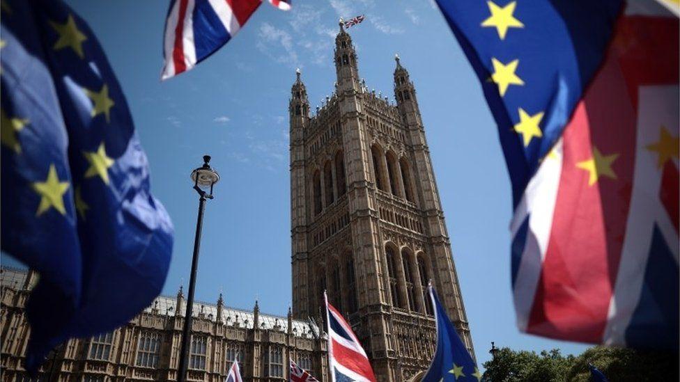 EU flags and Union Jacks outside Commons