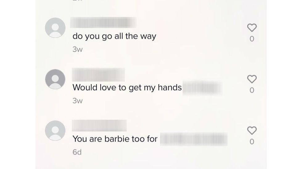 Examples of sexually suggestive comments the BBC identified on TikTok
