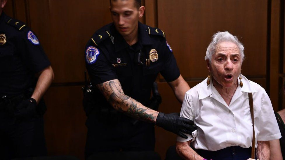 At least 20 protesters were removed from the hearing room