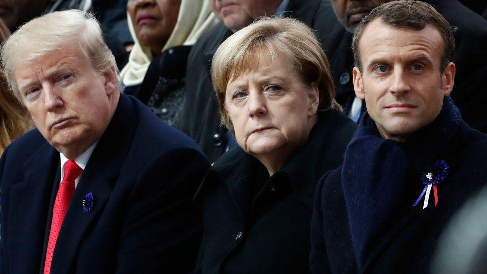 Donald Trump, Angela Merkel and Emmanuel Macron