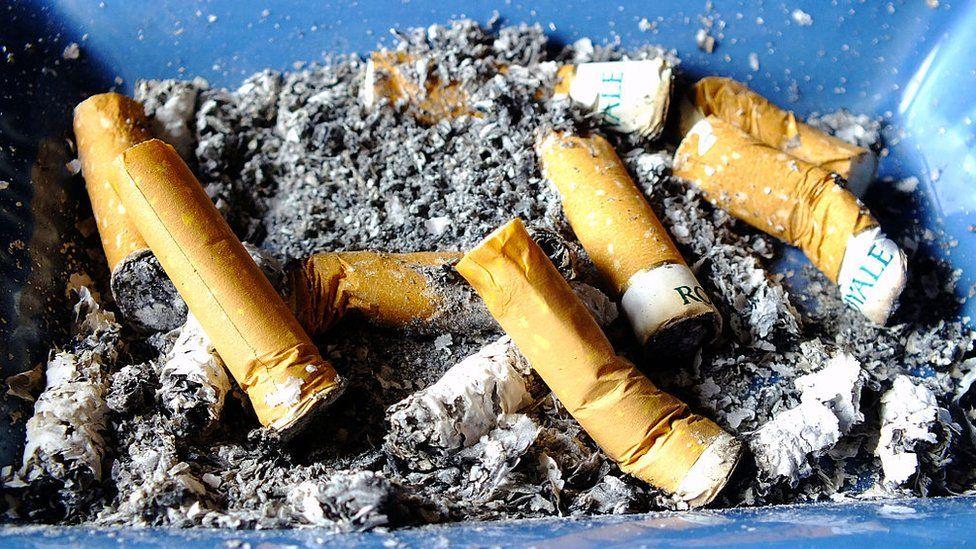 Cigarettes in ash tray