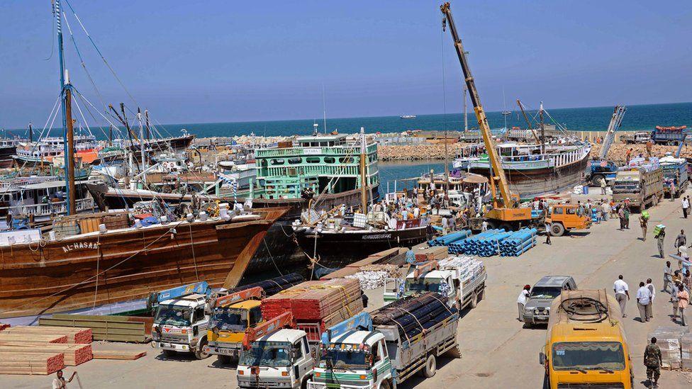 A general view taken on November 18, 2013 shows Bosaso harbor in Puntland.