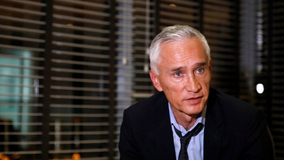Jorge Ramos, anchor of Spanish-language U.S. television network Univision, talks to the media, after he and his team were released