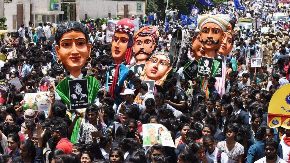 Aan image of the Gauri Lankesh protest in Bangalore