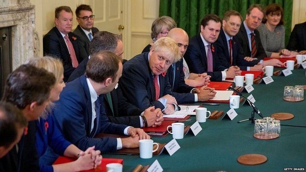 Boris Johnson addresses the last cabinet meeting before the election