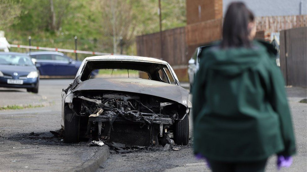 A car was found burnt out nearby