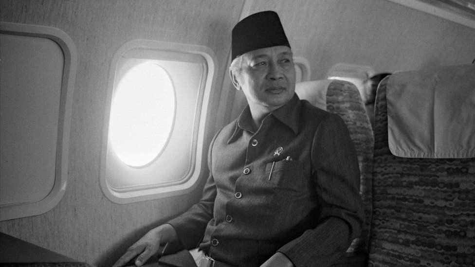 Suharto on board of his private plane during his trip in Java, Indonesia on February 3rd, 1978