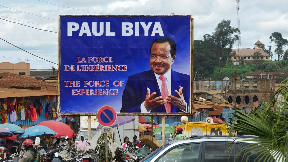 A billboard for Paul Biya pictured in the northern Cameroonian town of Maroua