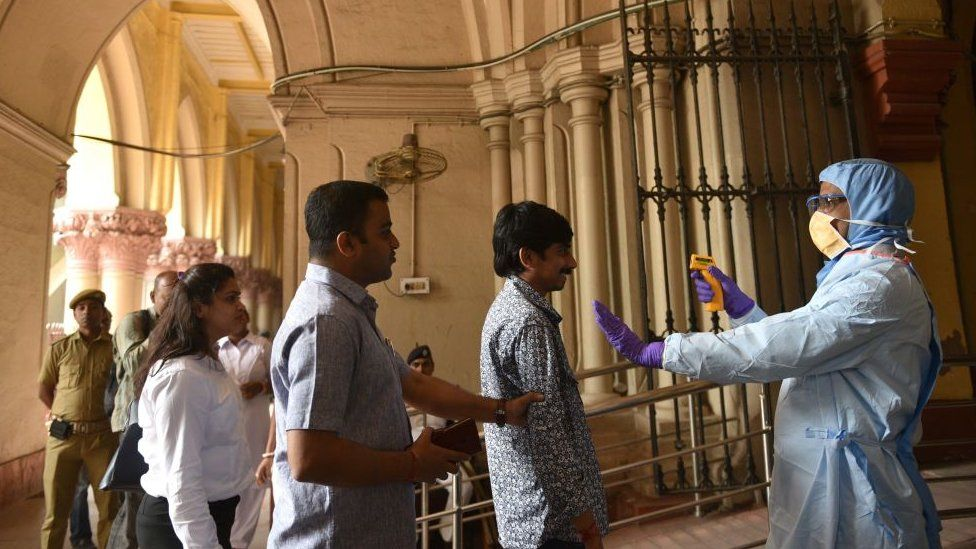 Doctor of West Bengal Health Government Department conduct thermal screening as prevention from coronavirus (COVID-19) infection at Kolkata High Court in Kolkata, India on Tuesday, March 17, 2020.