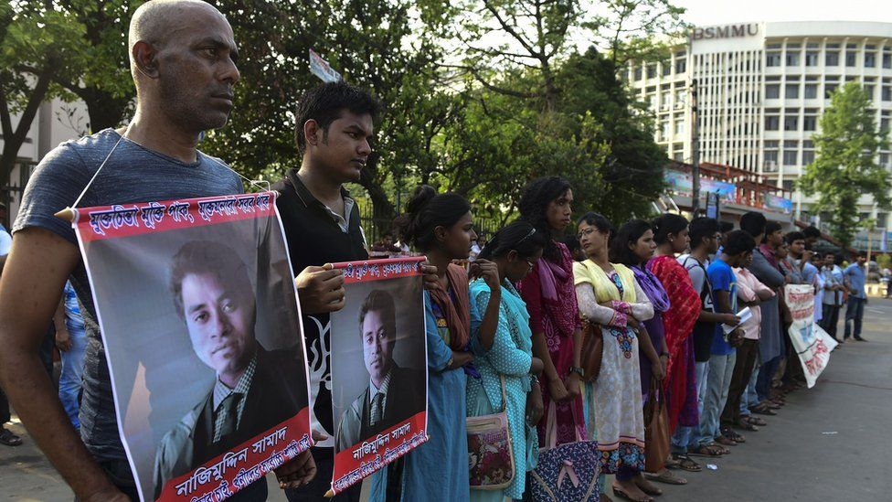 Activists demonstrate following the murder by suspected Islamists of a law student in Bangladesh, 8 April 2016