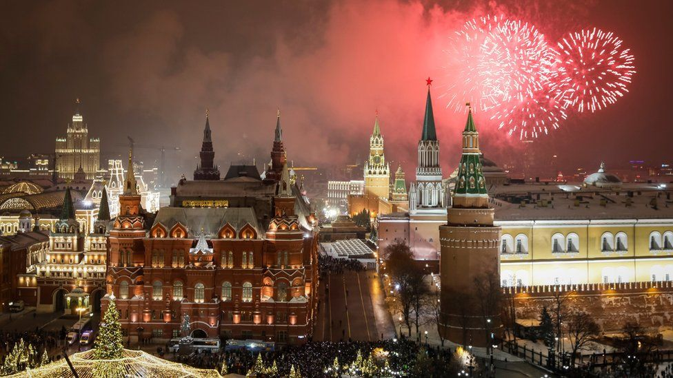 Fireworks explode in the sky over the Kremlin during New Year celebrations in Moscow, Russia