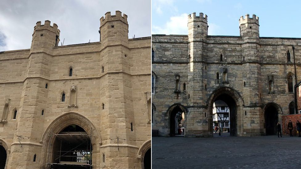 Composite image showing the building before and after the restoration