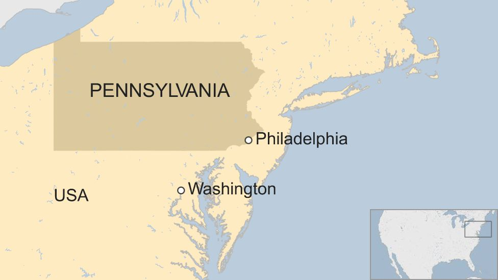 A map showing where the US city of Philadelphia is