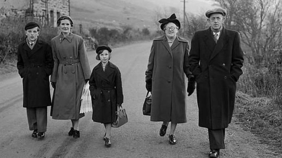 A family leaving Capel Celyn for the last time in 1956
