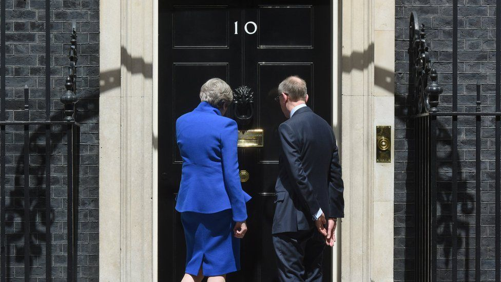 Theresa and Philip May on the steps of No 10