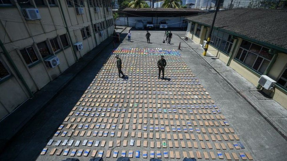 Police in Colombian port of Buenaventura with cocaine seized from the Usuga Clan Aug 10 2017