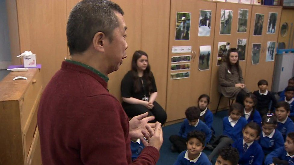 John Au delivers assembly at Lawrence Community Primary School, Liverpool