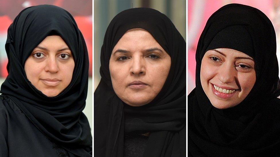 Saudi women's rights activists Nassima al-Sadah (L), Aziza al-Yousef (C) and Samar Badawi (R)