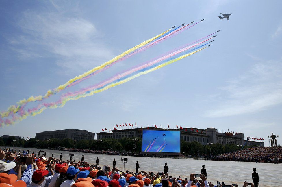 Military aircraft perform during the military parade marking the 70th anniversary of the end of World War Two, in Beijing, China, 3 September 2015