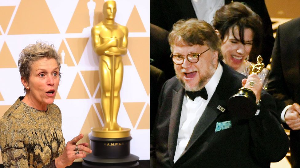Frances McDormand, Guillermo del Toro and Sally Hawkins