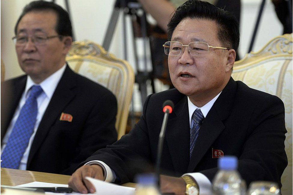The special envoy of North Korean leader Kim Jong-Un, Choe Ryong Hae (R), a secretary of the Central Committee of the ruling Workers Party, meets on November 20, 2014 with the Russian foreign minister in Moscow .