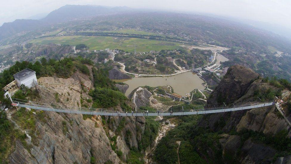 A suspension bridge at the Shiniuzhai National Geological Park