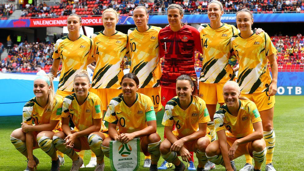 The Matildas team pose for a team photo before their game against Italy in the World Cup