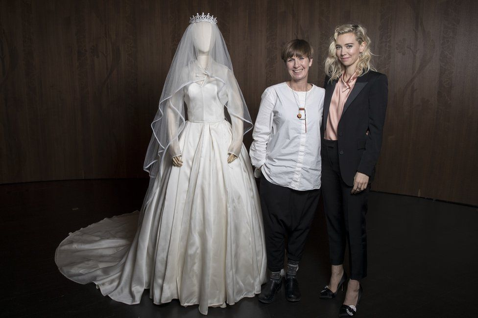 Jane Petrie and Vanessa Kirby pose for photos during 'The Crown' costume event at The V&A on March 2, 2018 in London,