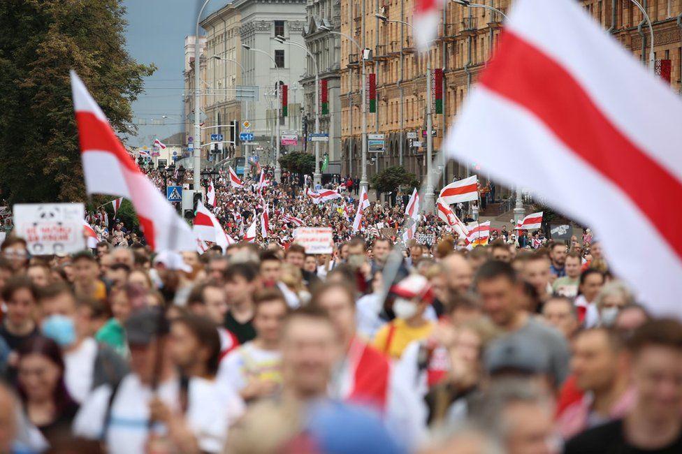 Protesters in Minsk, 6 September