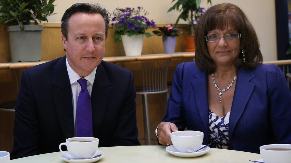 David Cameron and Ros Altmann, pensions minister